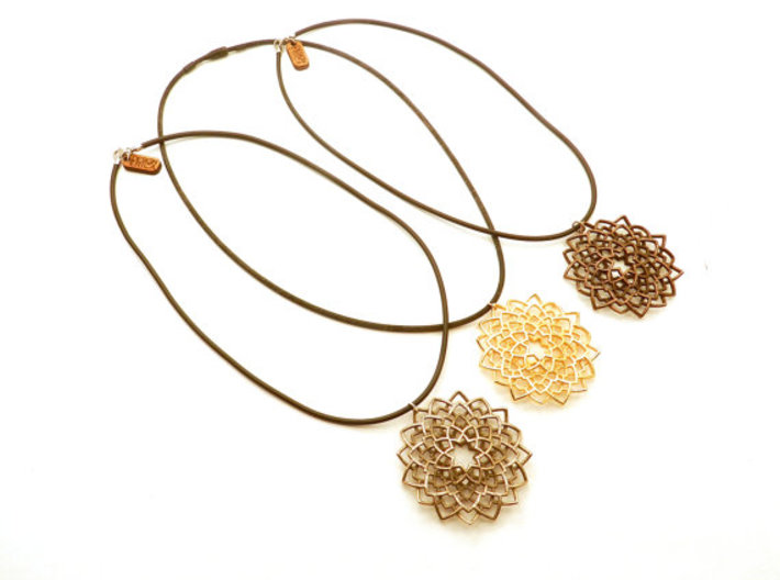 Mandala Flower Necklace 3d printed stainless steel, polished gold steel, polished bronze steel