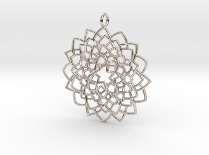 Mandala Flower Necklace 3d printed