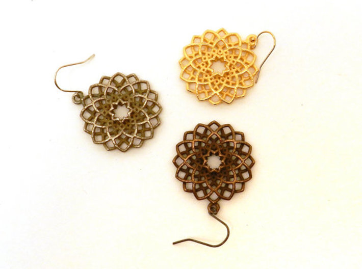 Mandala Flower Earrings 3d printed