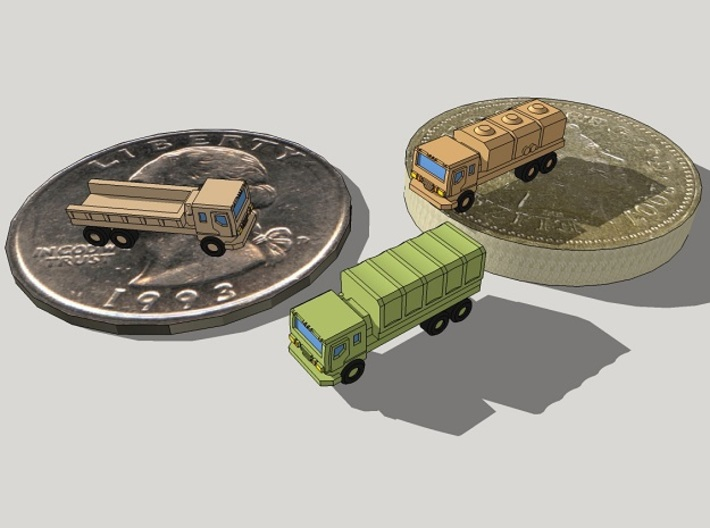 3mm Wheeled Military Cargo Trucks (12 pcs) 3d printed