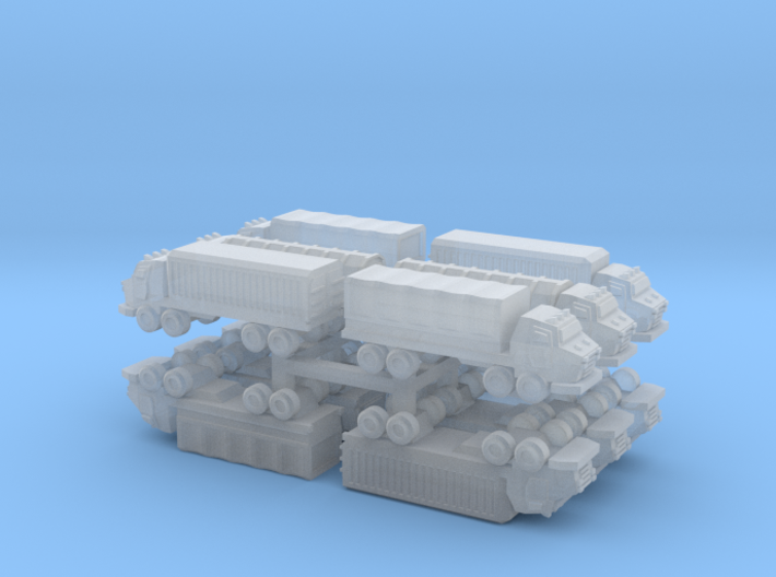 3mm Military Heavy Wheeled Cargo Trucks (12 pcs) 3d printed