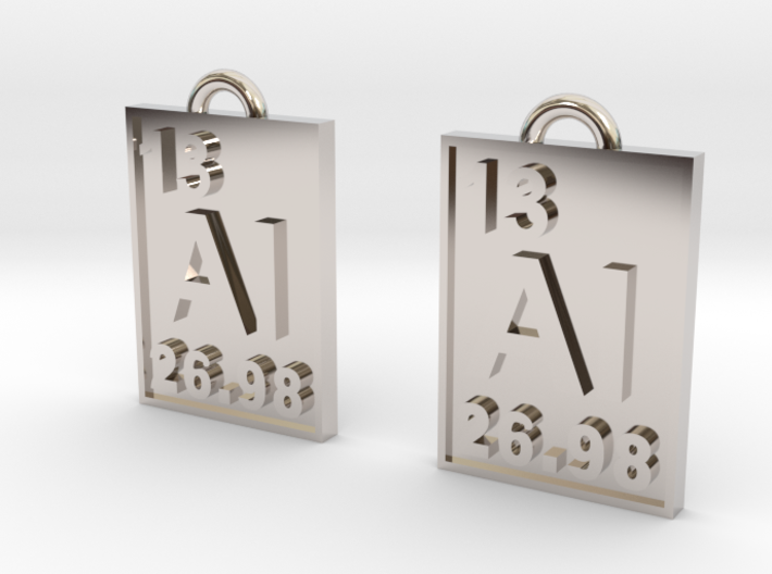 Aluminum Periodic Table Earrings 3d printed Rhodium Plating for a more metallic look.