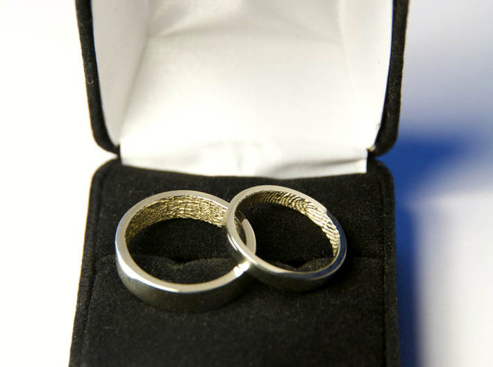 """Fingerprint Ring - His 3d printed The matching pair of rings: the 3mm """"hers"""" and the 5mm """"his"""" in 14k White Gold."""