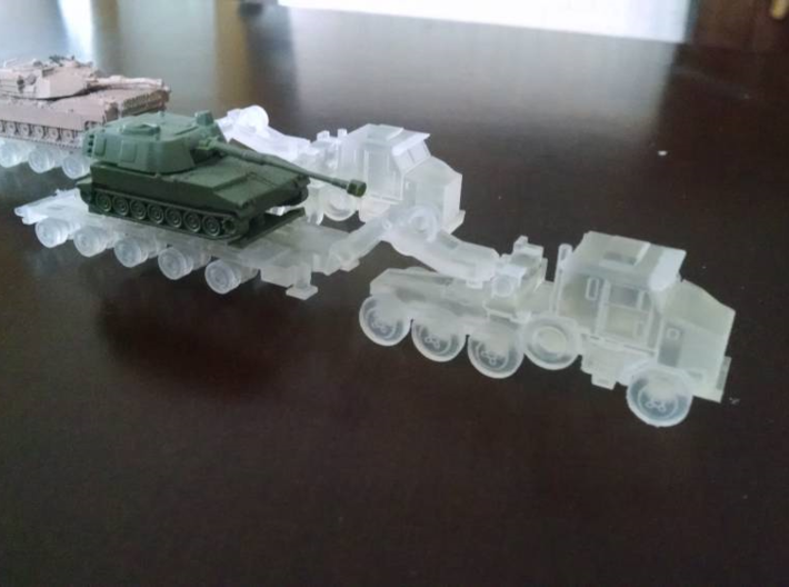 HETS M1070 / M1000 Truck and Trailer 1/200 Scale 3d printed N-Scale Model w/o Tank