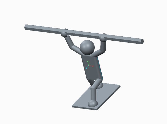 Weightlifter Pencil Holder 3d printed Creo render with model of pencil added for size comparison