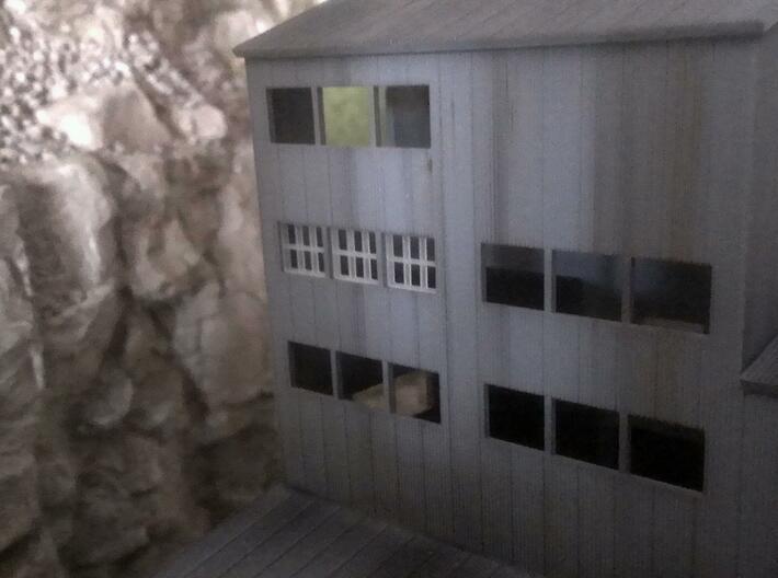 Coal Tipple Replacement Windows (N-Scale) 3d printed Unpainted window installed in tipple