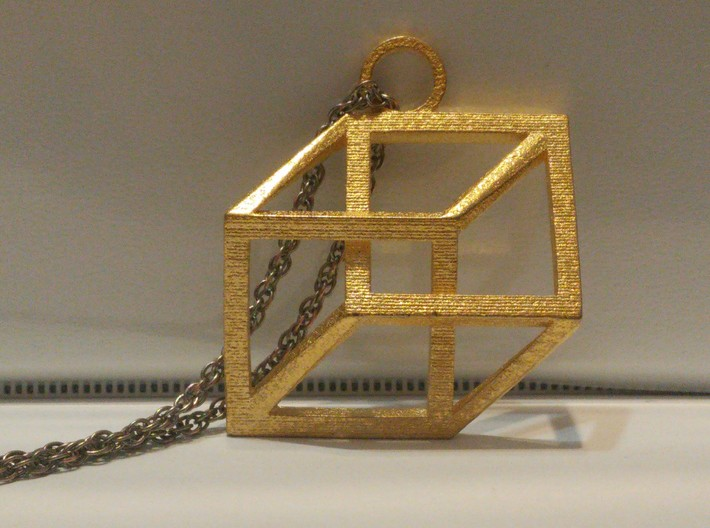 Impossible Cube Necklace 3d printed Front view of the cube in polished gold steel
