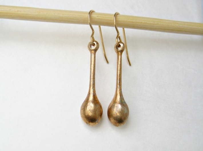 Teardrop Earrings - Bronze Age Earrings for Today 3d printed Teardrop shape emphasizes the unique characteristics of the material.