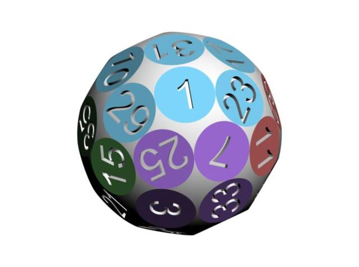 D36 Sphere Dice 3d printed D36 showing the group if six numbers with different colors