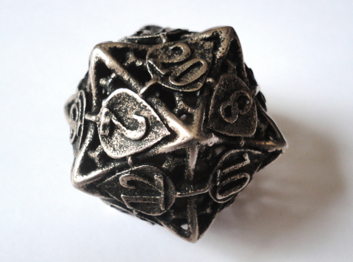 Botanical d20 (Aspen) 3d printed In stainless steel and inked
