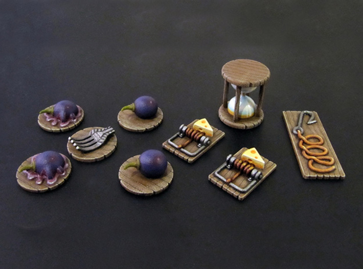 M&M Tokens (9 pcs) - Mice & Mystics 3d printed White Strong Flexible, hand-painted.