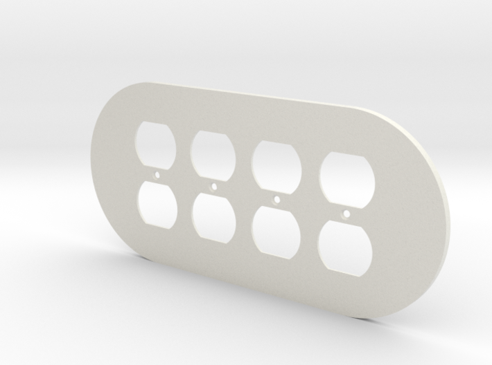 plodes® 4 Gang Duplex Outlet Wall Plate 3d printed
