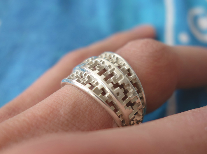 Tapered Pixel Ring 3d printed Not blackened