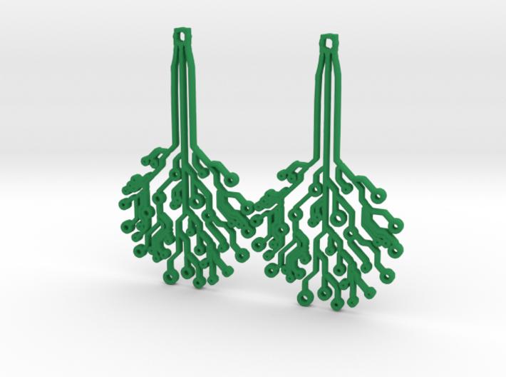 Circuit Tree Earrings 3d printed