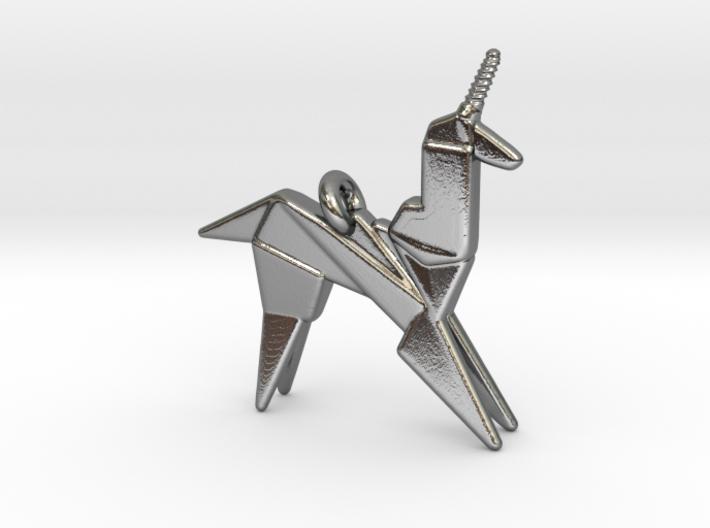 Origami Unicorn Pendant 3d printed