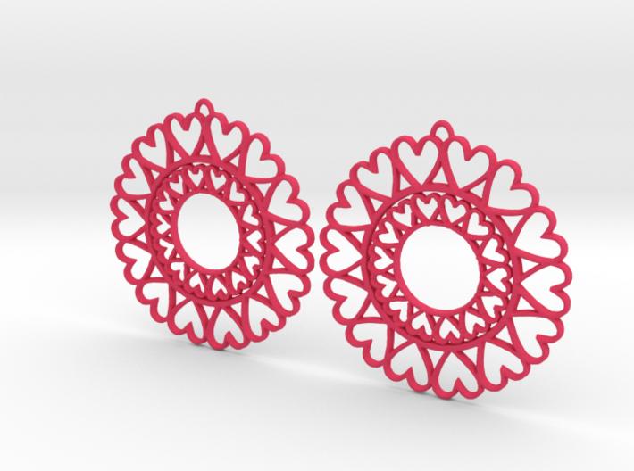 Circle Hearts Earrings 3d printed