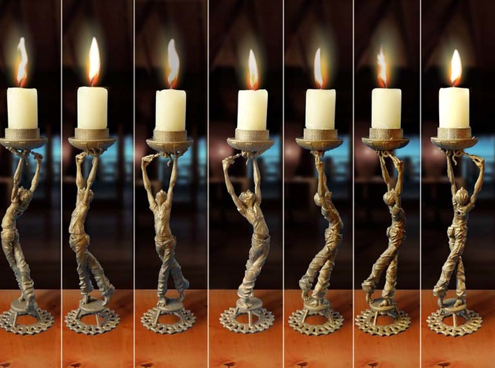"Candleholder ""Screwdriver"" 3d printed candle holder ""Screwdriver""- 3D printed in steel, multiple views"