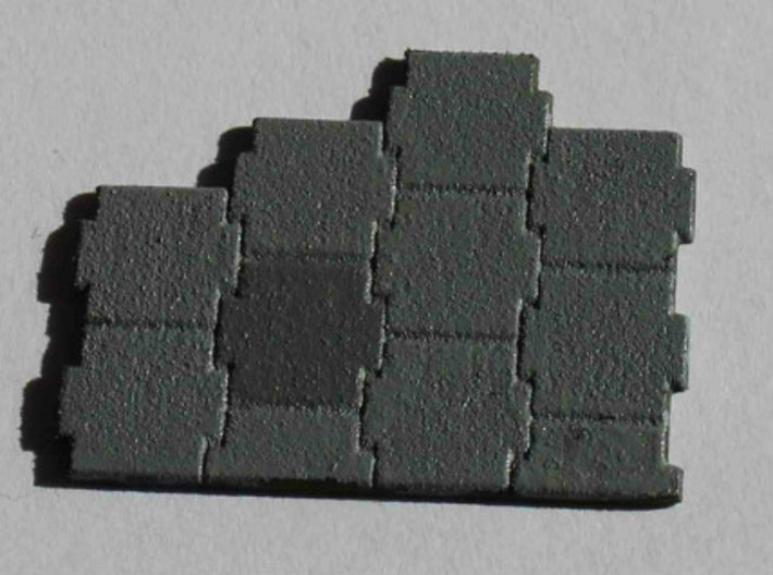 N Scale Terre Armee Sheet (Customizable) 3d printed Sample patch of the Terre Armee pattern sheet in Polished White Strong&Flexible in 2 different shades of grey.