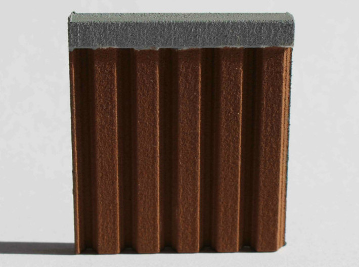 N Scale Sheet Piling (customizable) 3d printed Sample piece of the sheet piling sheet painted brown to simulate corroded steel..