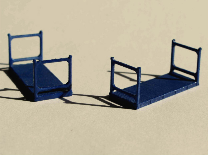 N Scale 20ft Flatrack Container #1 (2pc) 3d printed two 20ft flatrack containers type 1