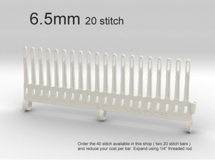 20 Tine Knitting Garter Bar - 6.5 mm V2 3d printed 6.5 mm - 20 stitch