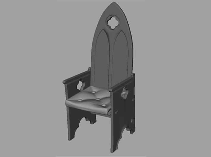 Gothic Chair 1:24 3d printed Screenshot of the model with pillow at place