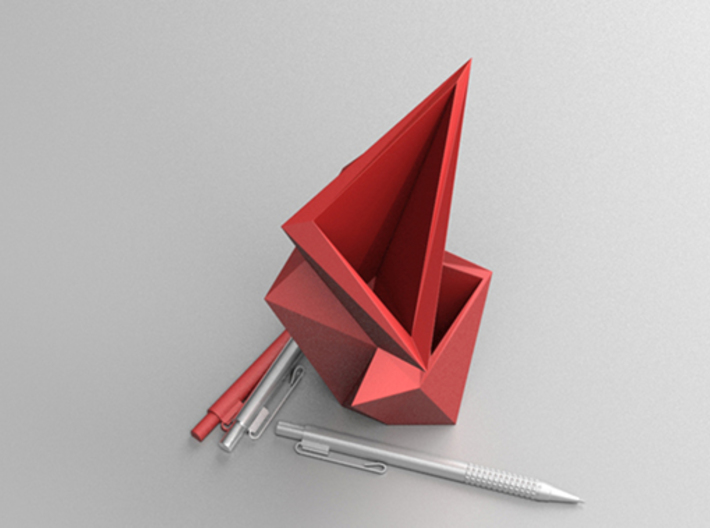 Edge I - Vase & Pen Stand 3d printed Red Top