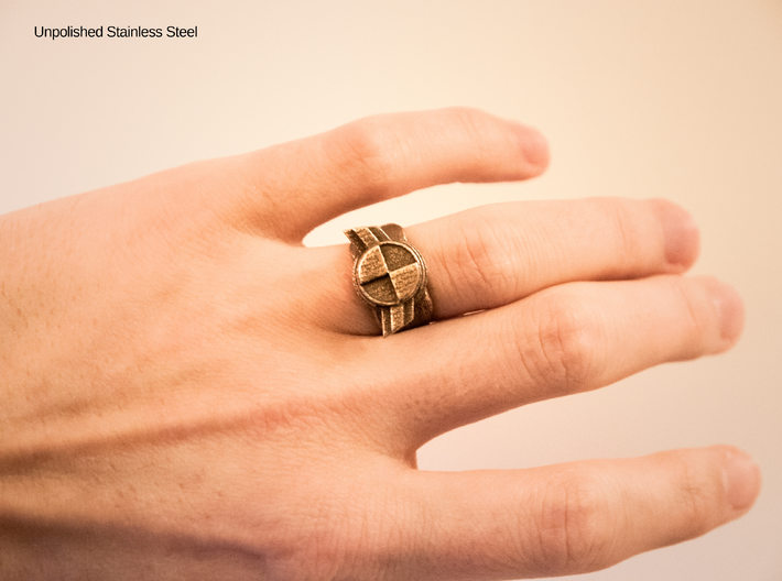 """Test Squadron Signet Ring. (small """"size 6"""" ring) 3d printed Unpolished Stainless Steel"""