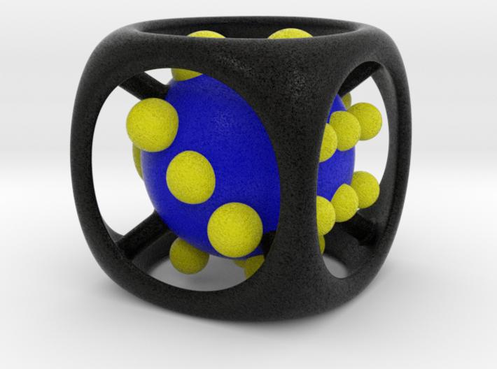 Dice No.1-c Blue L (balanced) (5cm/1.97in) 3d printed