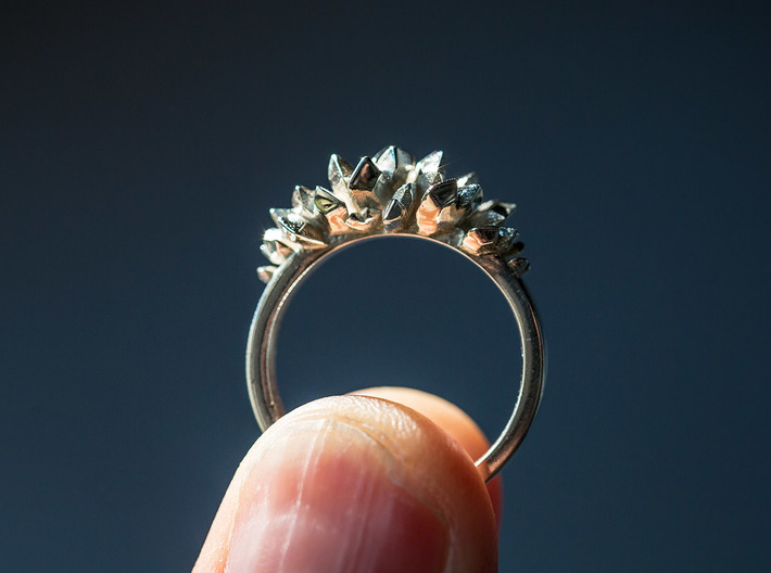 Crystal Hearts Engagement Ring 3d printed