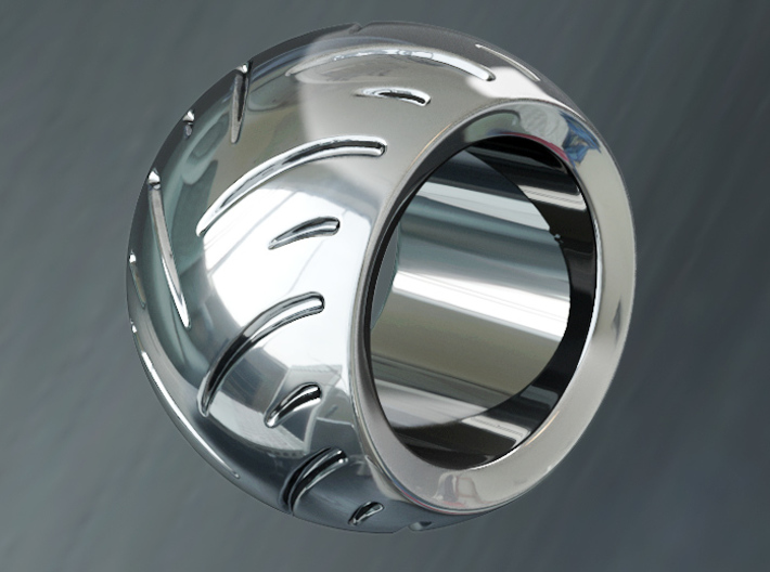 Max Power - Racing Tire Ring 3d printed Premium Silver preview Render