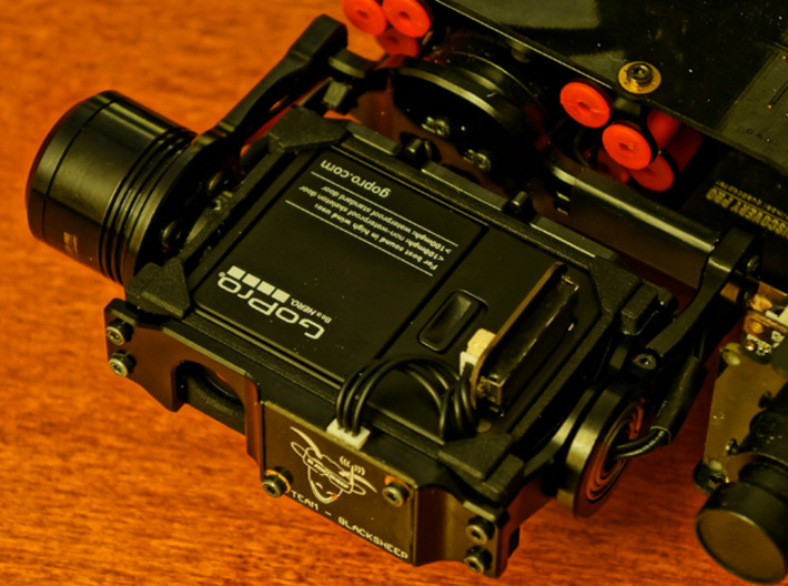 TBS Discovery PRO GoPro3/4 Gimbal Frame V2 3d printed Gimbal Frame installed with Camera inserted and pointing down.