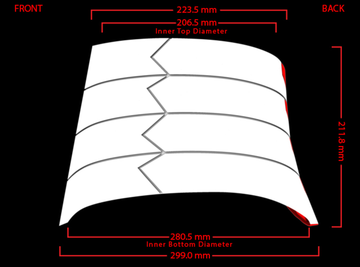 Iron Man Lower Back Armor 3d printed Side Measurements (What's Highlighted in Red will be printed)