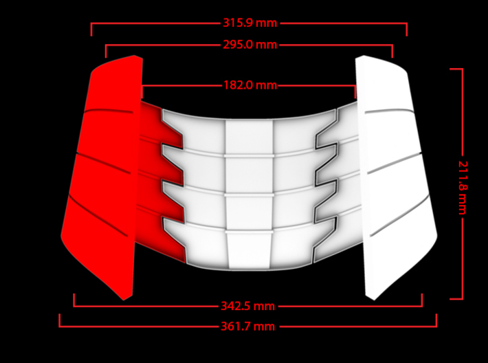 Iron Man Oblique Armor (Right Side) 3d printed Front Measurements (What's Highlighted in Red will be printed)