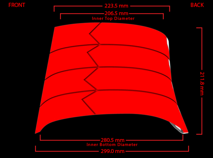 Iron Man Oblique Armor (Left Side) 3d printed Side Measurements (What's Highlighted in Red will be printed)