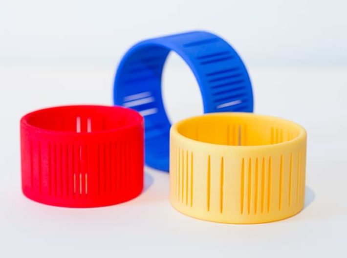 Slits Bracelet 3d printed The Slits Bracelet in multiple colors.