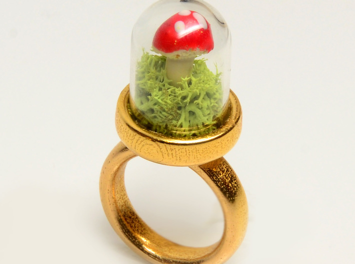 Glass Dome Ring Size 7 3d printed make your own terrarium!