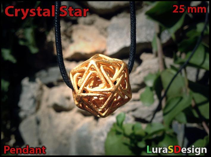 Crystal Star Pendant 3d printed Gold Steel