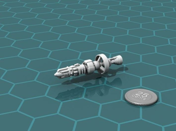 Federal Heavy Cruiser 3d printed Render of the model, with a virtual quarter for scale.