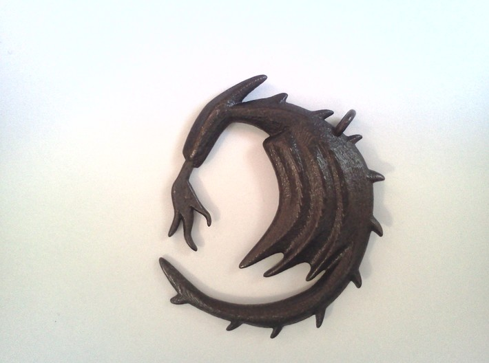 Small Dragon With Fire Pendent 3d printed