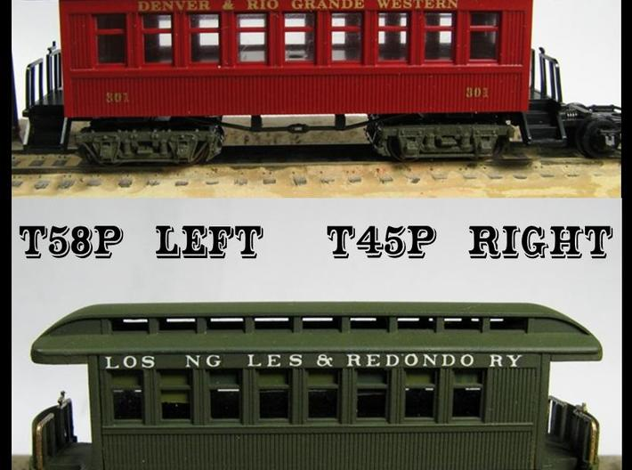 """T45p x8 N scale offset """"V&T"""" 5' truck for Overton 3d printed"""