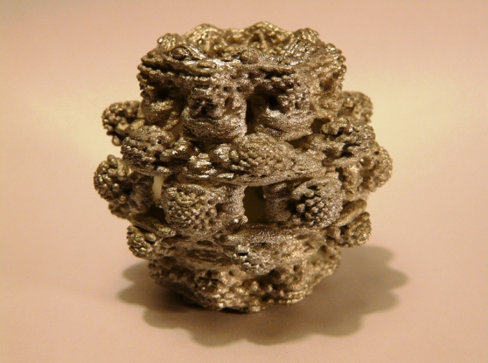 Power 8 Mandelbulb Fractal 3d printed White Strong & Flexible (here painted in silver)