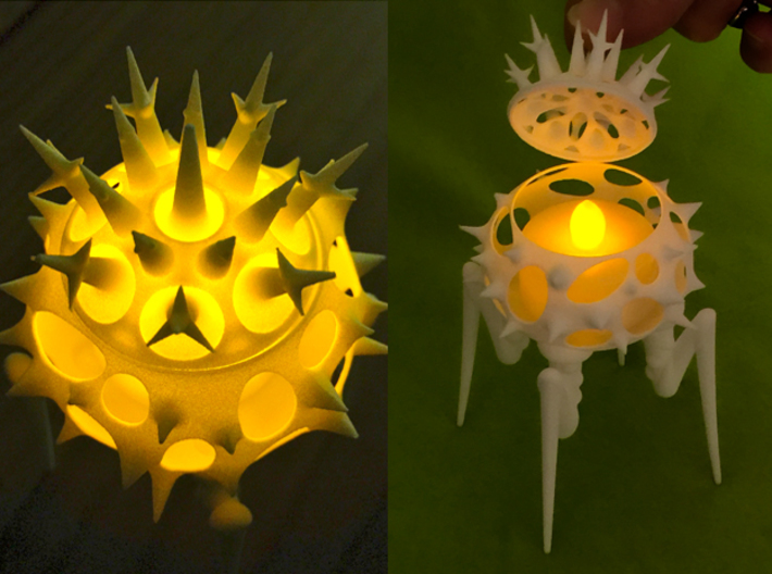 Biomorphic Object #15- Lantern 3d printed Here are two more views of the piece with a LED candle inside it.