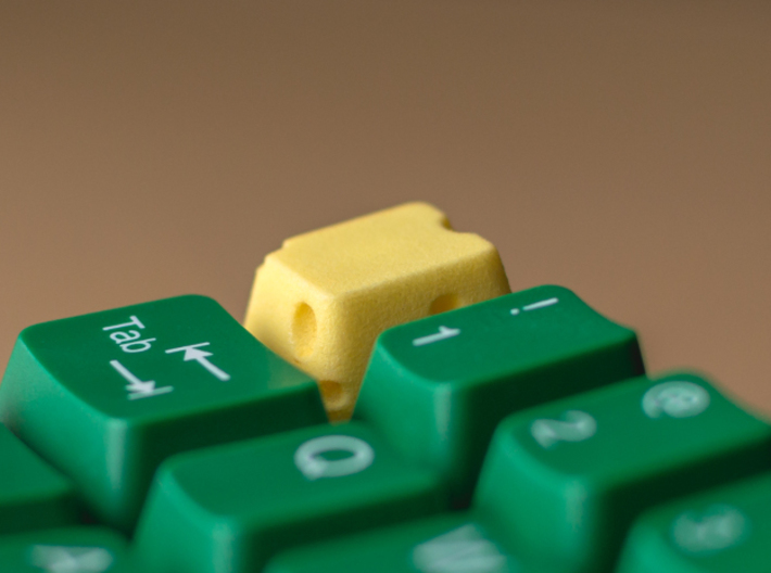 Cherry MX Cheese Keycap 3d printed Custom Cherry MX cheesekeycap in Yellow plastic. Thanks to itscracked for the great photos!