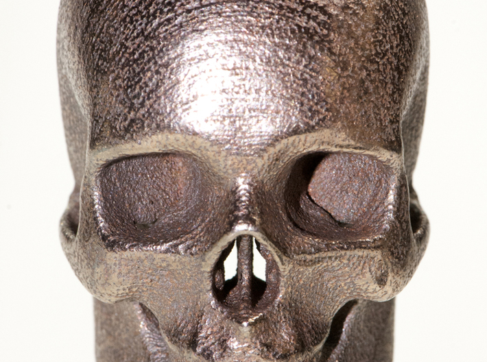 Human skull with Ring 3.4 cm 3d printed Stainless steel print
