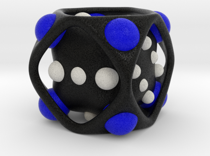 Dice No.2-c Blue M (balanced) (3.6cm/1.42in) 3d printed