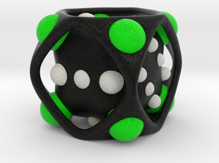 Dice No.2-c Green M (balanced) (3.6cm/1.42in) 3d printed