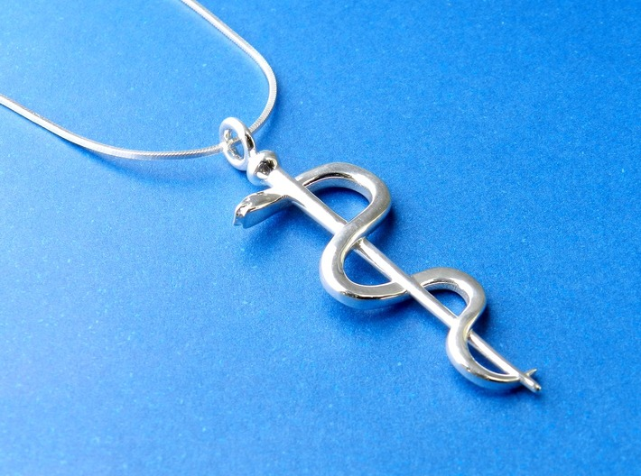Rod Of Asclepius Pendant 3d printed Polished Silver