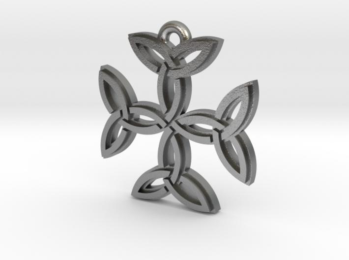 """Carolingian Cross"" Pendant, Cast Metal 3d printed"