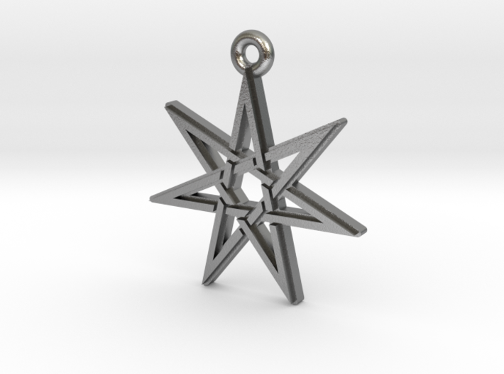"""Heptagram 3.0"" Pendant, Cast Metal 3d printed"